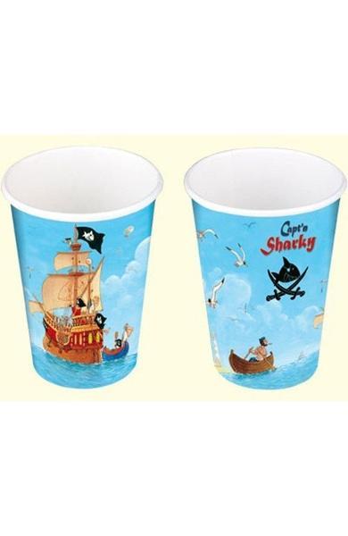 Pahare din carton pentru petrecere - Capitanul Sharky